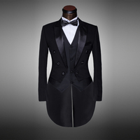 Classic Design Men Black White Wedding Suit Groom Tuxedo Evening Party Costumes Tailcoat 4pieces Blazer Jacket