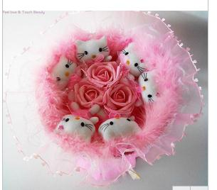 drop shipping 6 KT cat +3 rose Cartoon Bouquet , Valentine Gift, Festival Bouquet, Best Price. - flower bouquet store