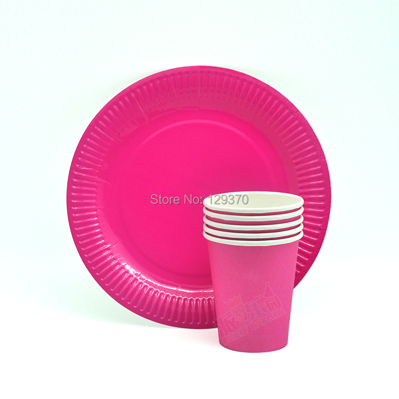 Free shipping 16pcs/Lot Pink Color Paper Plates and Cups Set Birthday Wedding Party set  sc 1 st  AliExpress.com & 8 Sets (33pcs) Tableware Table Cloth Pink \u0026 Gold Stripe Paper Cups ...