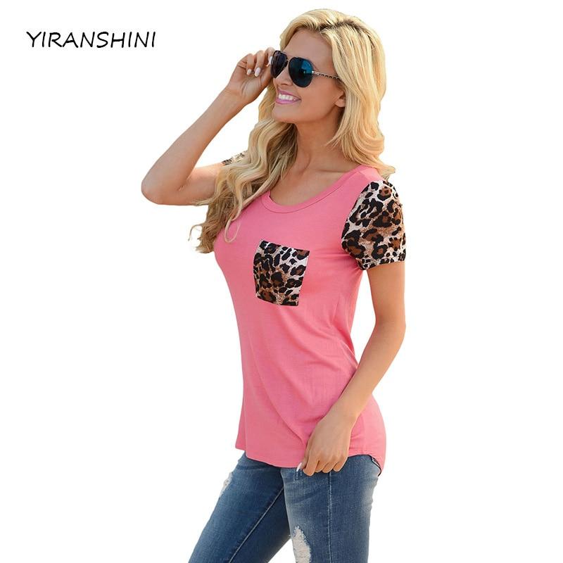 YIRANSHINI 2018 Verano de manga corta mujeres camisetas Pink Leopard Print Spliced mujeres T-shirt Sexy o-cuello del partido señora Tops LC250067