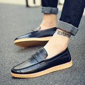 2017 Hot Spring/Summer Men Shoes Pu Leather Men Loafers Flats Fashion England Black Mens Shoes Casual Flat Shoes Zapatos Hombre