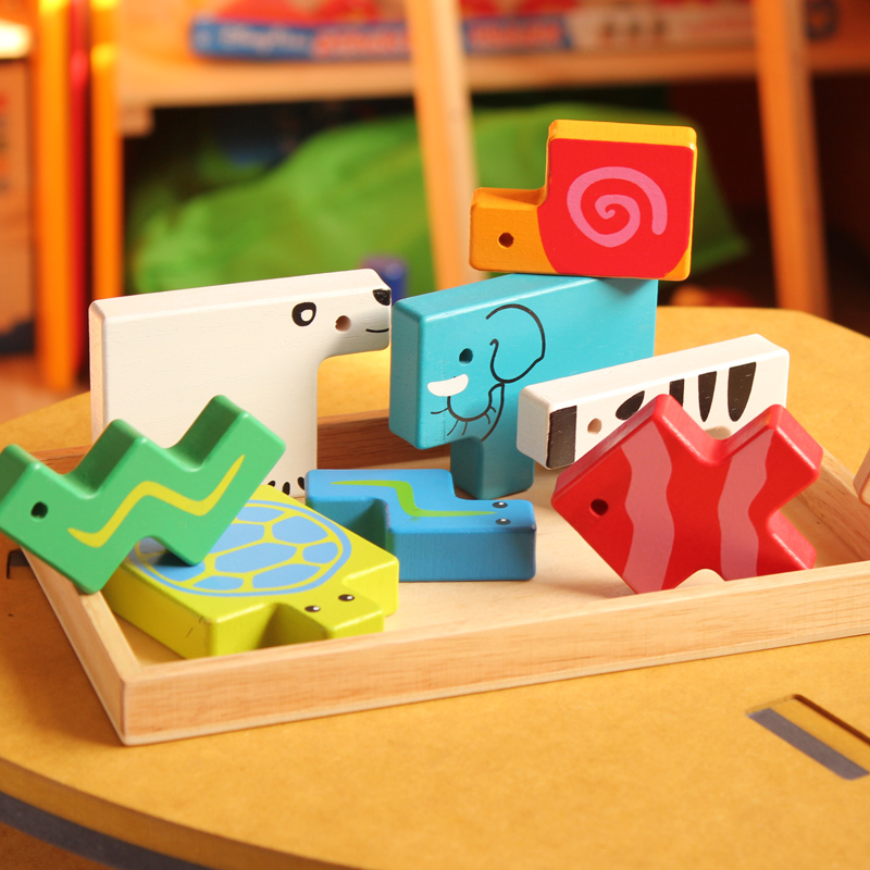 Baby Toys 3D Wooden Blocks Beech Wood Animal Building Blocks Wooden Toys Creative Building Blocks Children Birthday Gift large pieces of baby blocks educational toys wooden toys of environmental protection children s building blocks toys