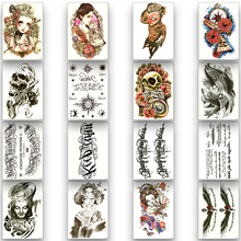 Temporary Tattoo Sticker Disposable Waterproof Fake Text Skull Woman Squid Black Water Transfer Paper Fashion Body Art