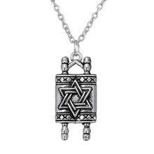 Jewish Hebrew Sefer Torah Scroll Religious Men Pendant Necklace Women With Star Of David
