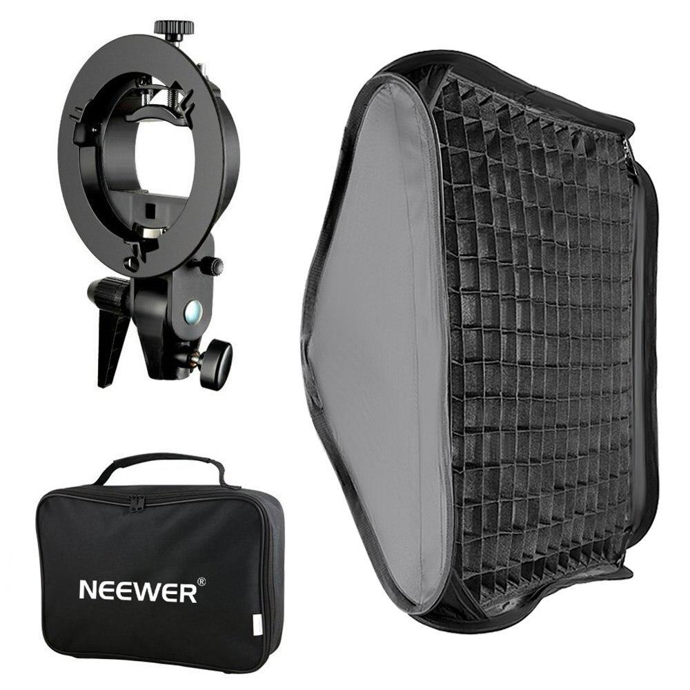 Neewer Bowens Mount Softbox con rejilla y s-tipo soporte Flash para Nikon SB-600/-800/- 900/-910/Canon 380EX/430EX