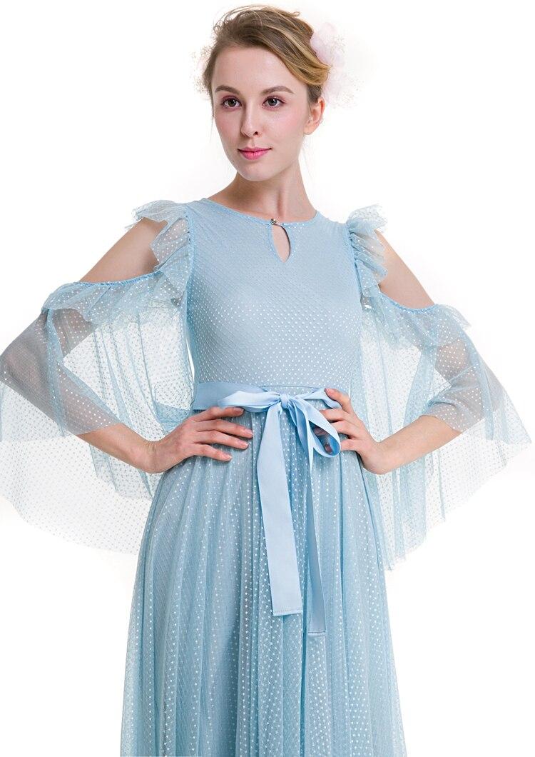 New design long lace dress gap flare sleeve mesh O neck ruffles big ...