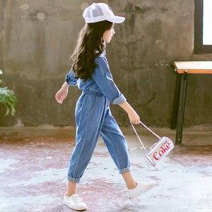 Image 5 - Abesay Denim odzież dziecięca koszula z długim rękawem + spodnie 2 szt. Casual Girls Clothes Set odzież zimowa nastoletnie dziewczyny 6 8 12 rok