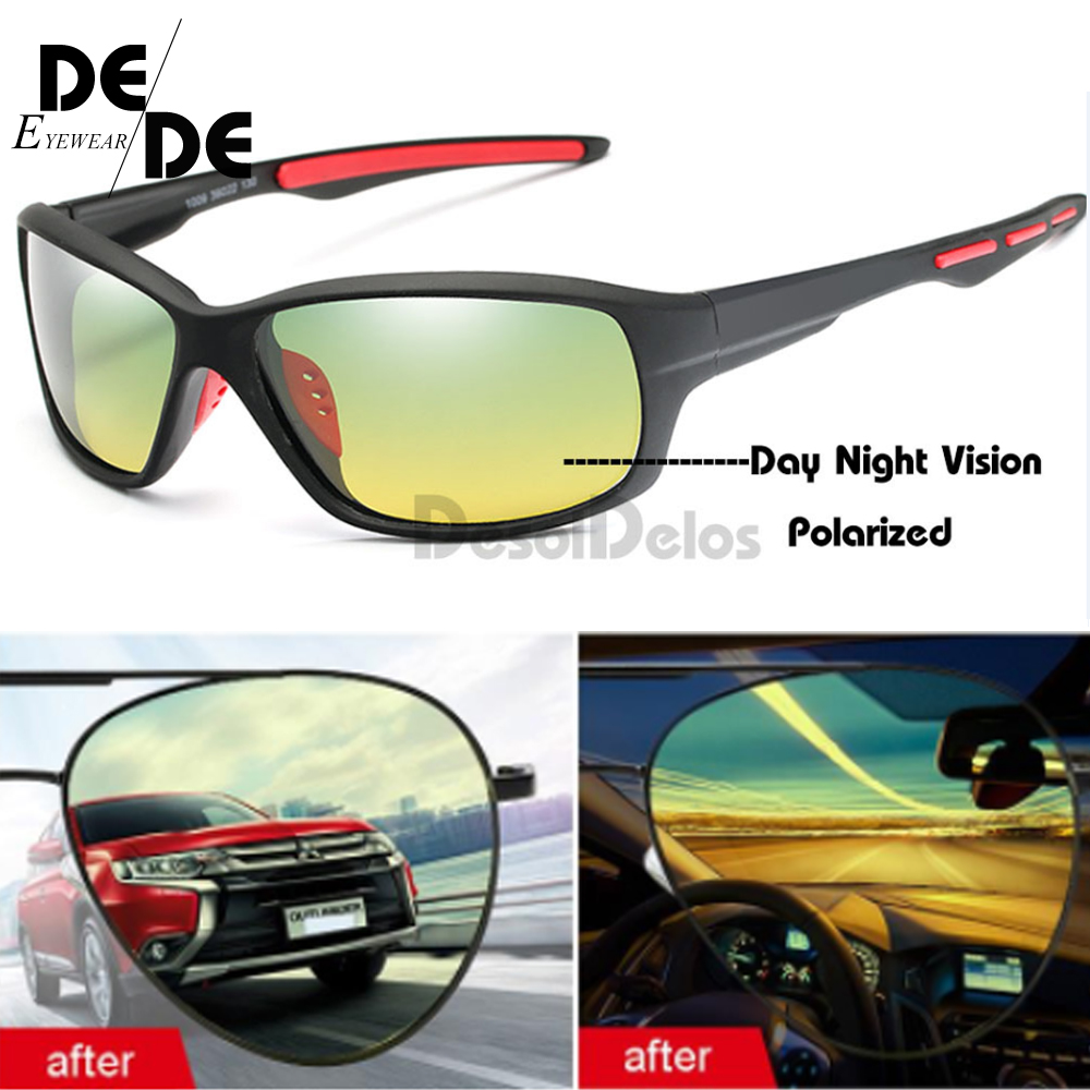 Men's Yellow Polarized Driving Sunglasses At Night High Quality Vision Day Night Glasses Polarized For Women Safety Eyewear