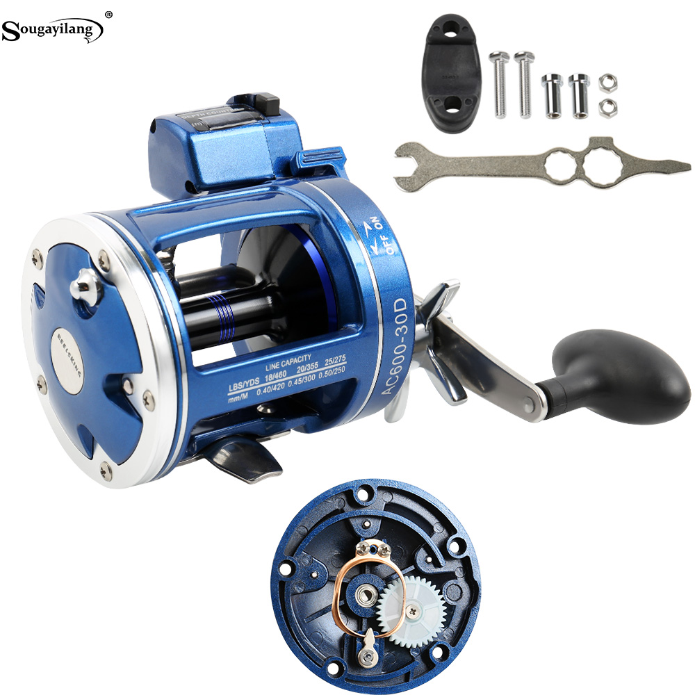 Sougayilang Strong Trolling Fishing Reel 12BB Right/Left Hand Saltwater Trolling Reels with Line Counter Alarm Bell Drum Reel