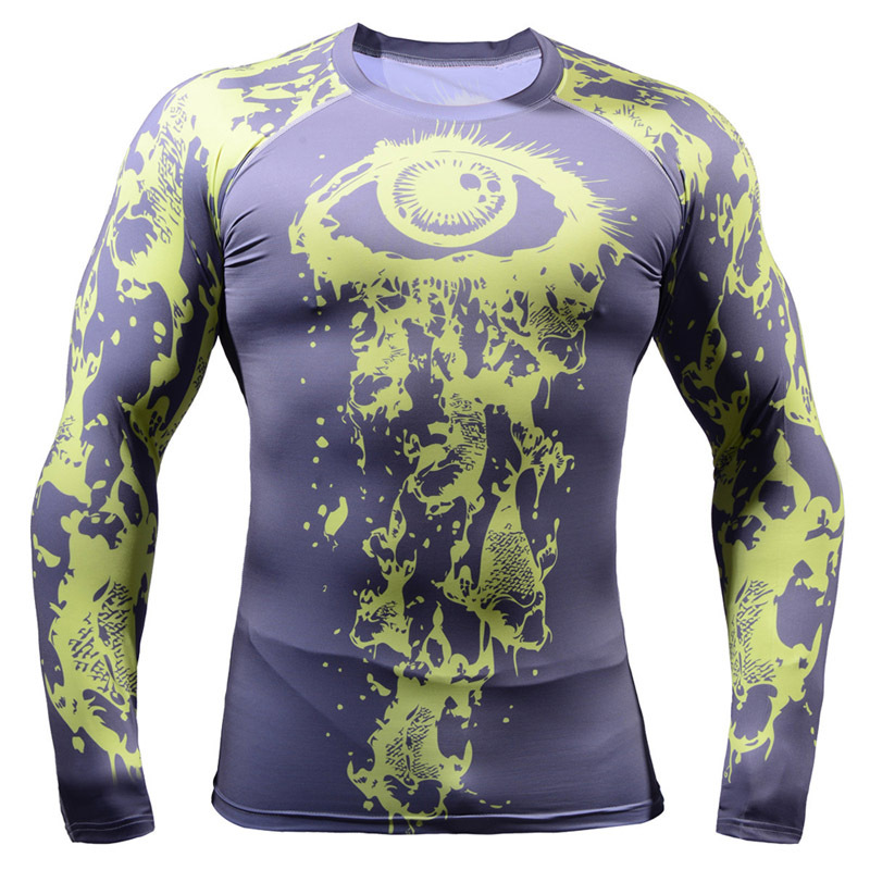 2017 cool cycling Skin Long Sleeve Sport Gear 3d paisley long sleeve printing Mens Fitness T Shirts drop shipping
