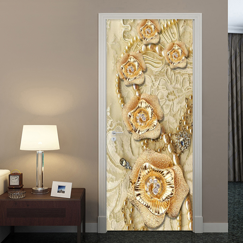 European Style 3D Stereo Golden Yellow Flowers Door Sticker Luxury Home Decor Wallpaper Living Room PVC Self-Adhesive 3D Sticker
