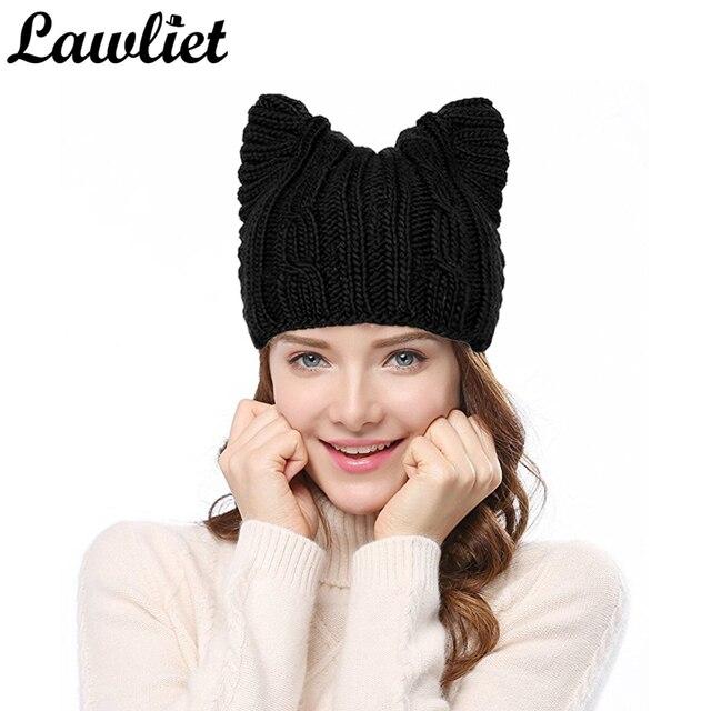 1b2a946b02cae Hiver femmes chapeaux tricotés bonnets chapeau solide mignon miaou oreille  chat fille laine chapeaux plus chaud