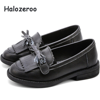 New 2019 Autumn Kids Tassel Shoes Children Bow Shoes Baby Girls Genuine Leather Loafer Brand Black Moccasin Fashion School Flats