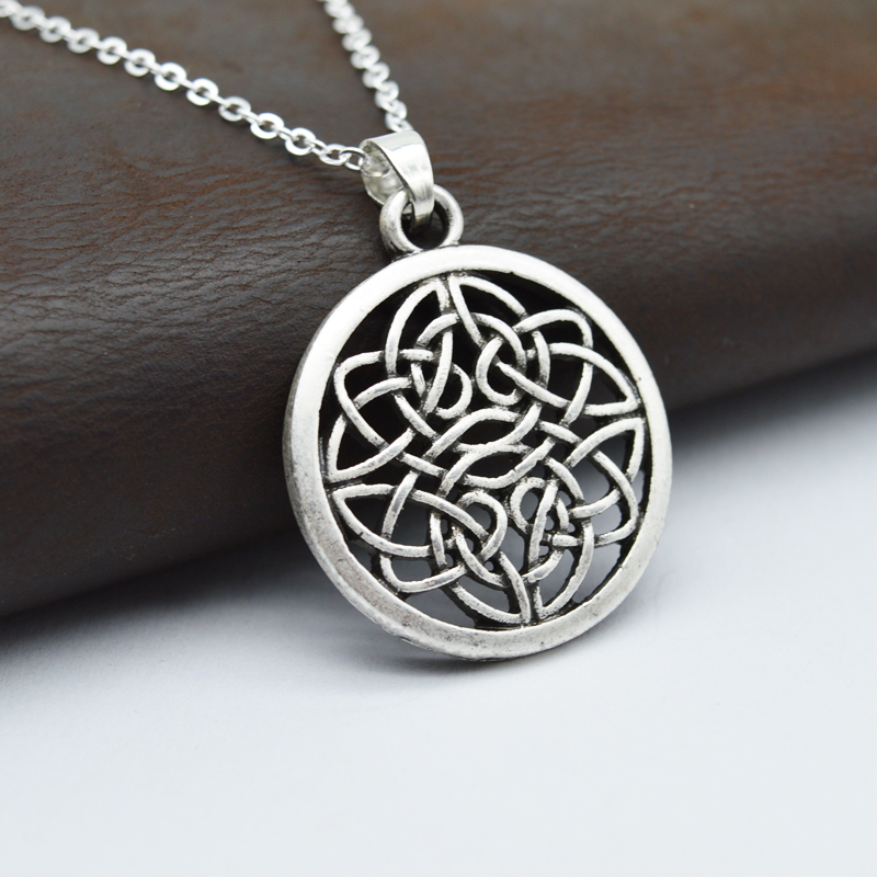 1pcs Celtics Art Pendant Necklace Silver Irish Knot Pendant Eternity - Perhiasan fesyen