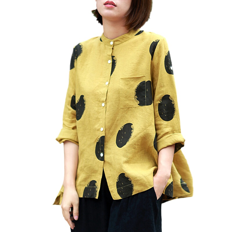 17bc774c37f Black Dot Blouse Shirt Female Cotton Linen 2018 New Autumn Casual Roll Up  Long Sleeve Shirts ...
