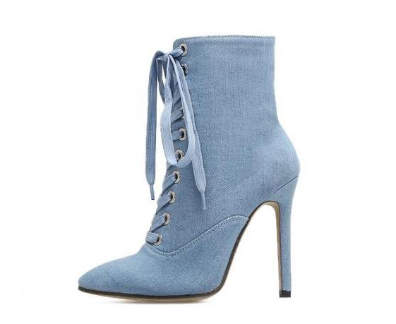 New Fashion Denim Blue High Heel Shoe Woman Sexy Pointed Toe Lace-up Ankle Boots 2018 Thin Heels Short Jeans Boots spring 2017 new women dark blue sexy gladiator cute out fringed tassel lace up round toe thin heels short ankle boots botas
