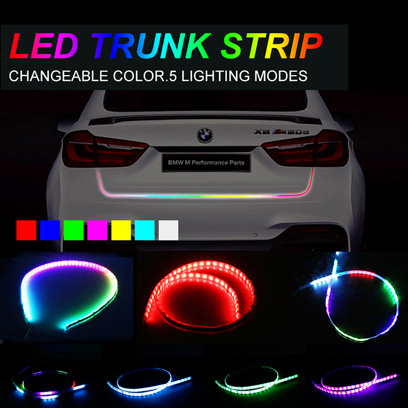 OKEEN 47.6inch LED strip for car 5050 LED Tailgate trunk turn signal light bar strip Colorful flash water running Reverse lamp