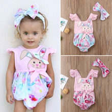 Twin baby girl bunny romper matching Easter outfits