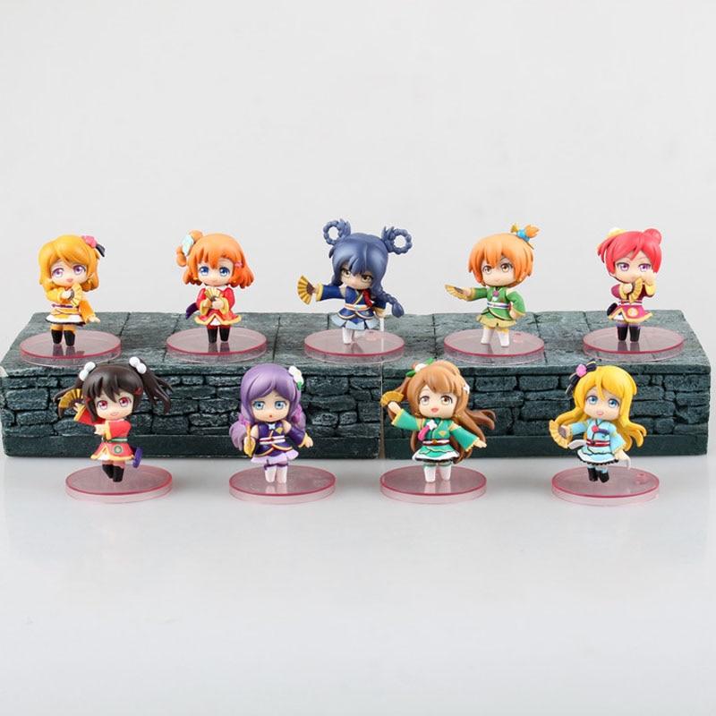 ФОТО Japan Anime Love Live! School Idol Project PVC Action Figures Toys 9pcs/set Box Halloween Christmas holiday gifts