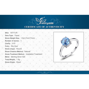 Image 5 - JewelryPalace אמיתי כחול טופז טבעת סוליטייר 925 סטרלינג כסף טבעות לנשים אירוסין טבעת כסף 925 תכשיטי אבני חן