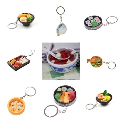 Simulation Food Key Chain Food Bowl Mini Bag Pendant Simulation Food Key Ring New 1pc Random Style