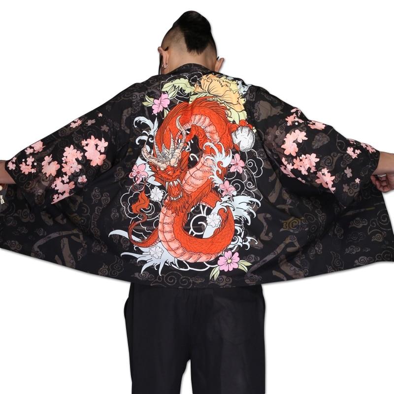 Blouses Male Hawaiian Shirt Men Japanese Kimono Cardigan Harajuku Japanese Streetwear Clothing Cool Blouse Male Shirt KZ2007