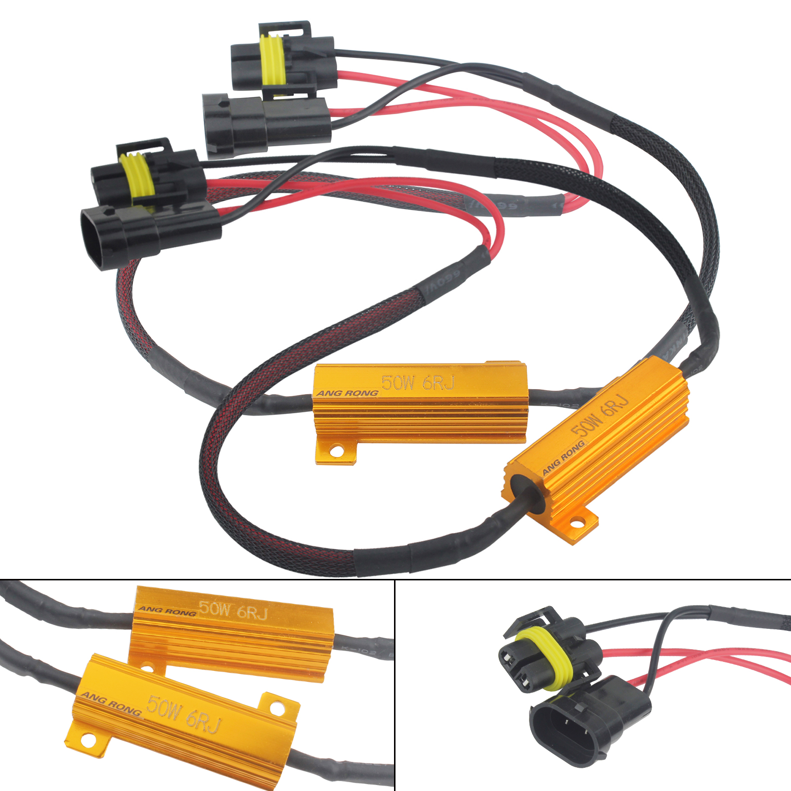 hight resolution of angrong 2pcs h8 h11 led headlight drl fog light load resistors wiring harness canbus