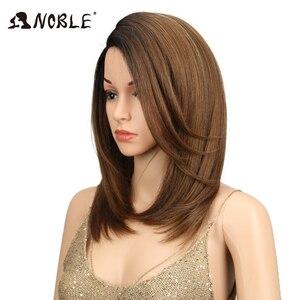 Image 3 - Noble court BOB perruque pour les femmes cheveux synthétiques partie latérale dentelle 18 résistant à la chaleur haute température fibre sans colle Ombre perruque droite