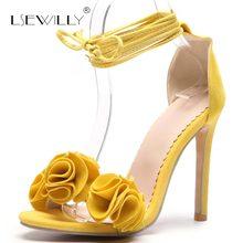Lsewilly encaje hasta Sexy tacones altos sandalias mujeres Ruffle sandalias  verano tacones delgados de moda Chaussure 6fc62e78d305