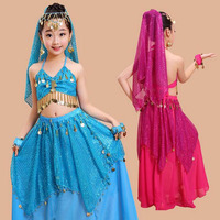 New Design Kids Child Indian Bollywood Dancing Costumes Sexy Belly Dance Wears Suits Tops Skirt 2pcs