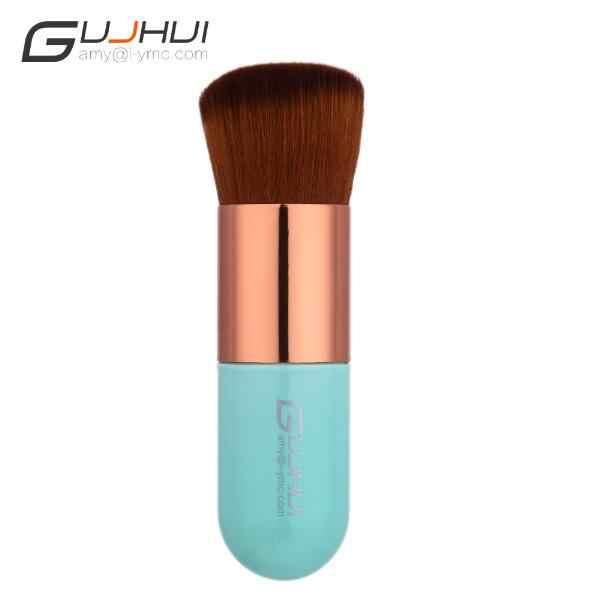 GUJHUI Chubby Pier Foundation Brush Portable Blue Pink Professional Makeup Blush Brush Foundation Cosmetic Tool