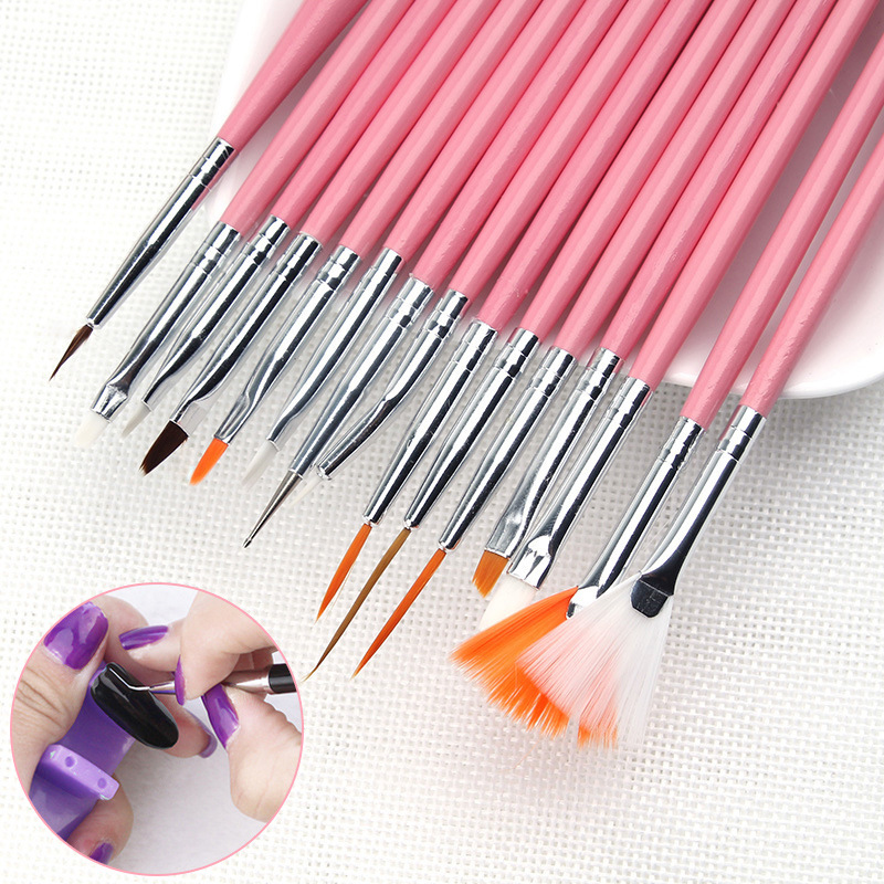 ELECOOL 15Pcs Nail Brush Set Dotting Drawing Pen Paint Brushes For Manicure Wood Handle Nail Art Brush For Nails