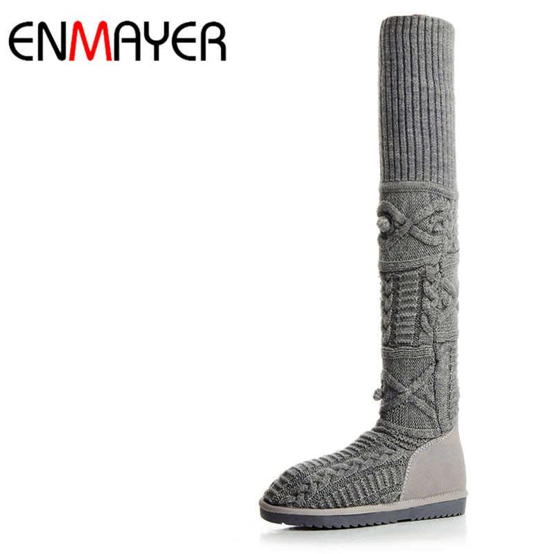 ENMAYER Low Heels Big Size 34-42Winter Warm Boots Shoes Woman Black Gray Shoes Wool Knitting Cow Split Over-the-knee Boots Flats enmayer over the knee boots shoes new pu knitting square heel high boots warm snow long boots red brown black knight boots