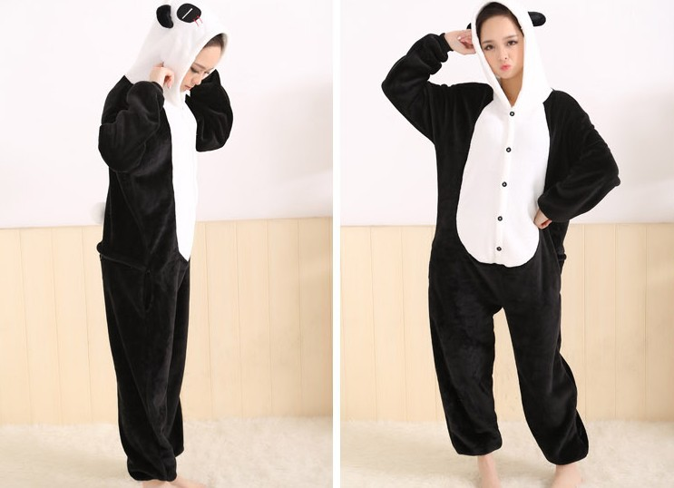 Flannel fleece Furry Panda Costume Onesies Halloween Animal ...