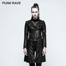 PUNK RAVE Rock Novelty Women Casual Gothic Punk Mid-length Jackets Delay Clothes Coat Sexy Faux Leather Female Coats PU Overcoat