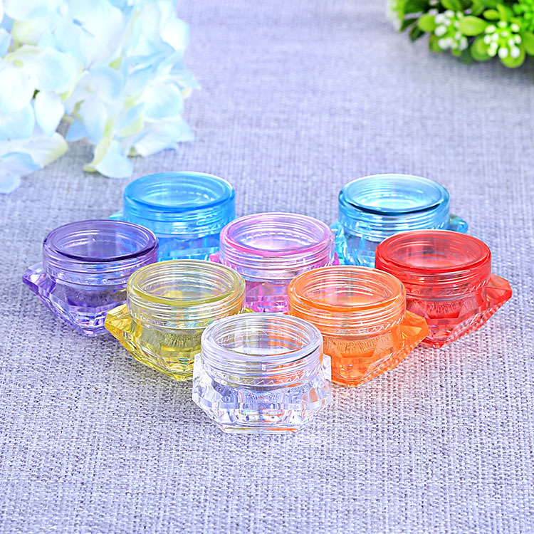 5g 1000pcs lot Clear Diamond Shape Mask Bottles Acrylic Cream Jar Containers For Sample Packaging cosmetic container 8colors in Refillable Bottles from Beauty Health