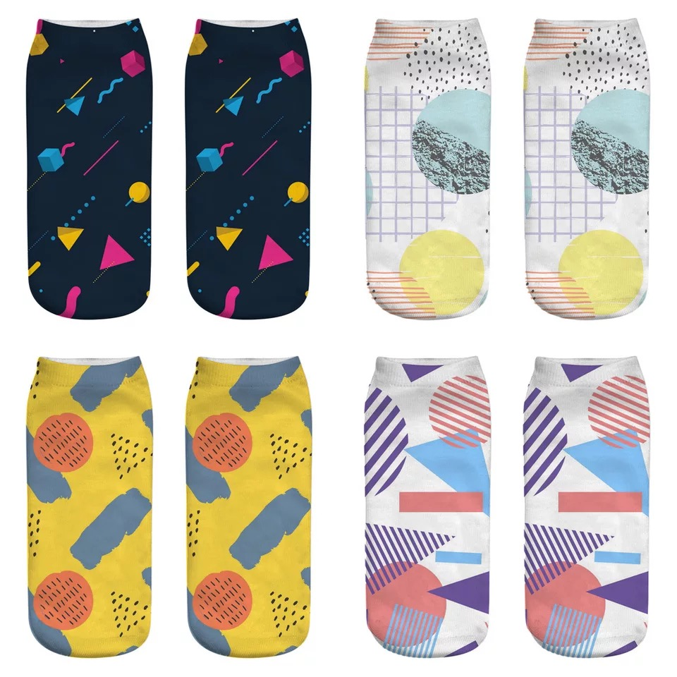 Geometric printing socks 3D digital socks,Various styles are available