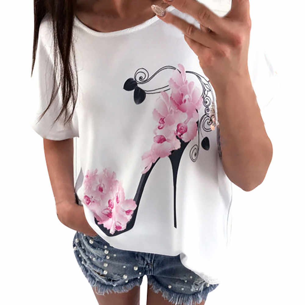 Women Short Sleeve High Heels Printed Tops Beach Casual Loose Blouse Top Shirt  AP26