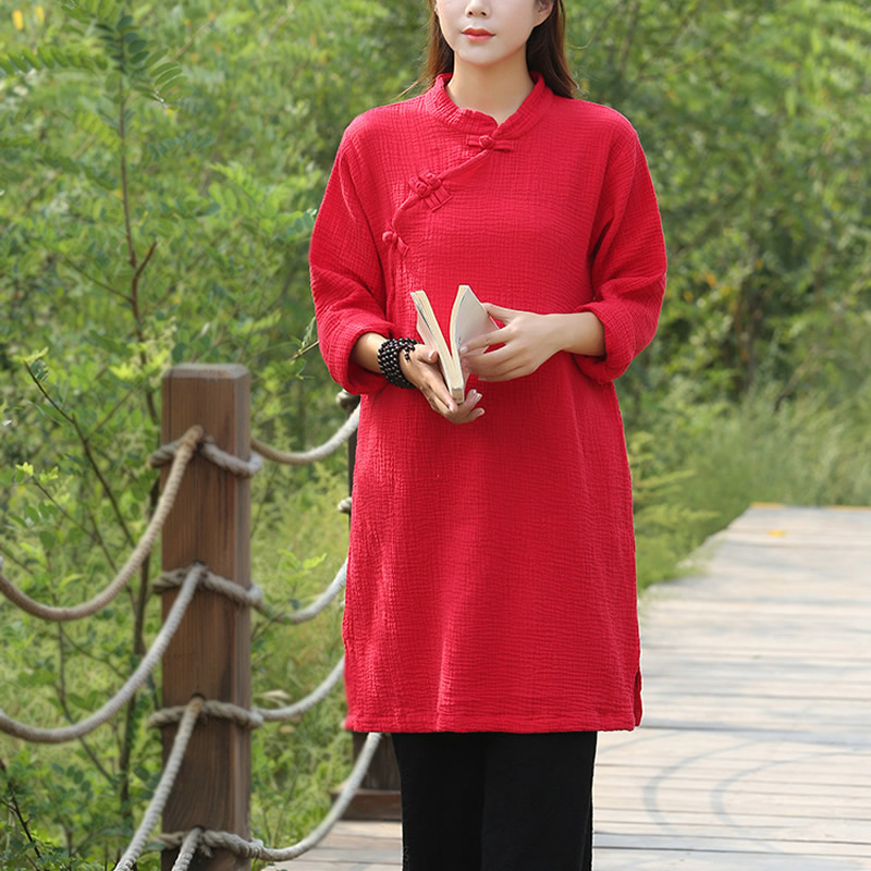 Solid Long sleeve Cotton Women Long   Blouse     Shirt   Chinese style Vintage Autumn Casual   Shirts     Blouse   Warm Robe   Shirt   Femme C073