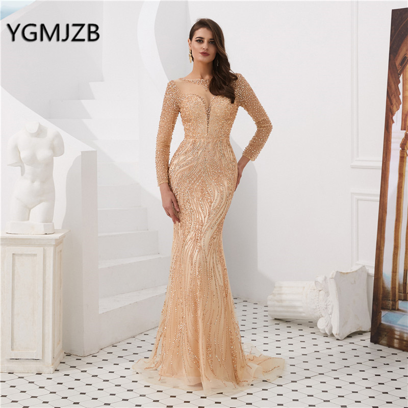 Luxury Sparkly   Evening     Dress   2019 Long Sleeves Crystal Beading Elegant Mermaid Prom   Dress   Formal Party Gown Robe De Soiree