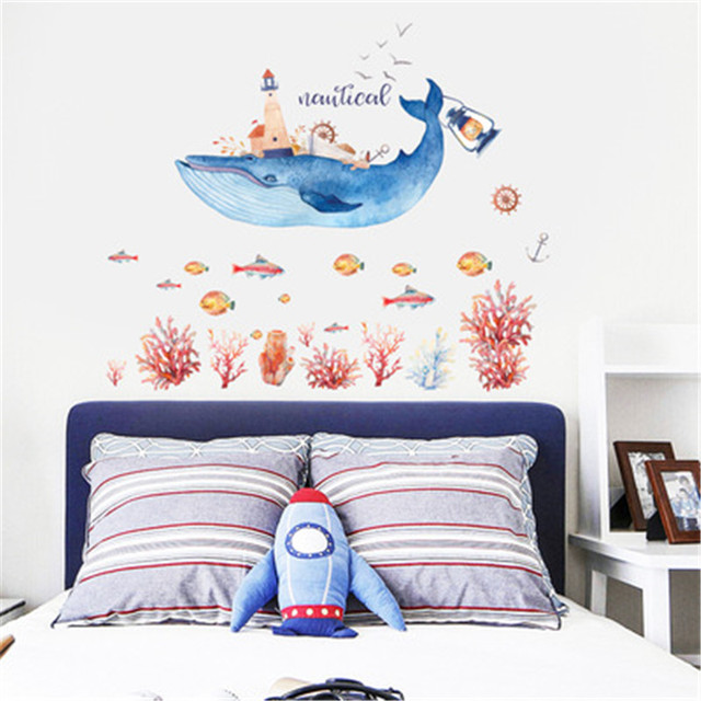 Cartoon Dolphins Wall Stickers Home Decor Marine Underwater World ...