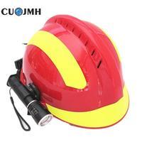 Outdoor Safety Helmet Climbing Emergency Rescue Helmet Firefighter Rescue Helmet +protective Glasses Safety Reflective Helmet