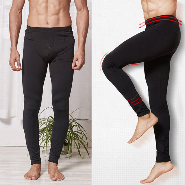 Winter Men Long Johns Thermal Pants Solid Elastic Slim Fit Soft Trousers Men Underwear Leggings Male Underpants Single Pant 2018