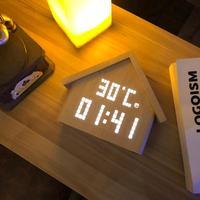 Wooden House Electronic LED Digital Alarm Clock Temperature Humidity Display Sounds Control Desktop Table Alarm Clock Home Decor