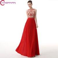 קריסטל שמלות ערב תכשיט צוואר Sheer שיפון ארוך 2017 חדשים סקסי אחורי אדום שמלת מפלגה לנשף אלגנטי