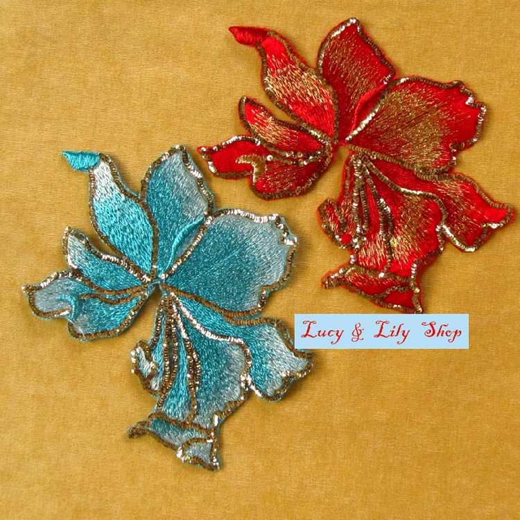 Embroidered blue and red 17CM big gold sequine appliques patches high end for bride decoration bridal wedding hair accessories