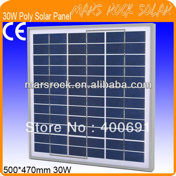 30W 18V Polycrystalline Solar Panel Module with Nice Appearance, IP65 Waterproof Rate, Long Lifecycle, Fend Against Snowstorm30W 18V Polycrystalline Solar Panel Module with Nice Appearance, IP65 Waterproof Rate, Long Lifecycle, Fend Against Snowstorm