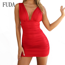 FUDA Women Summer Sexy Deep V Neck Backless Mini Pleated Dress Fashion Sleeveless Bodycon Bandage Casual High Street Wear