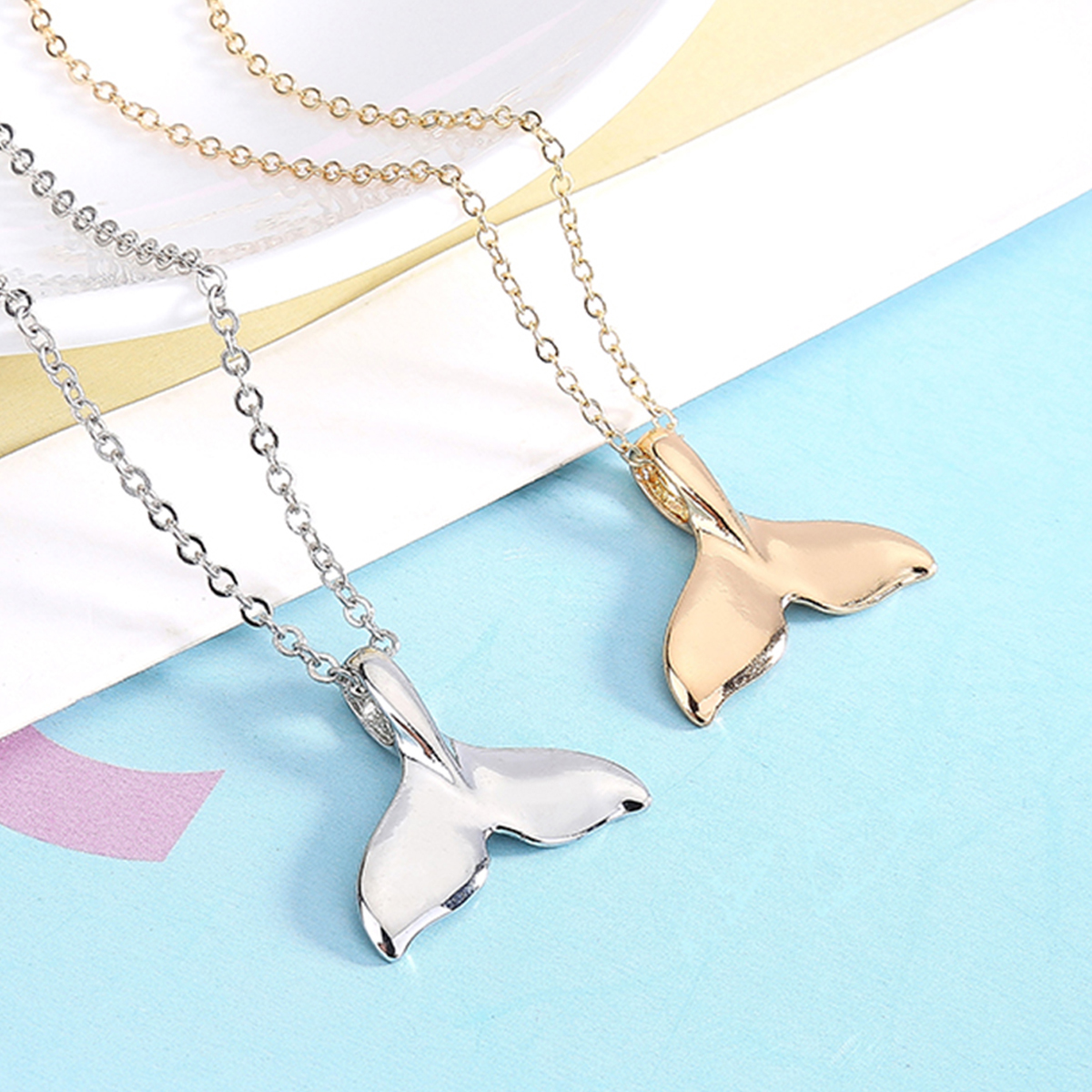 Charms Rose Gold/Silver Color Simple Chain Cute Whale Fishtail Dolphin Tail Fashion Pendant Necklace Womens' Animal Chic Jewelry