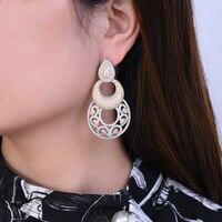 missvikki Noble Round Vintage Gold Silver Cubic Zirconia Geometric Drop Earrings Pattern Long Pendant Earring Jewelry Statement